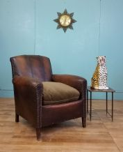 compact French leather club chair - SOLD